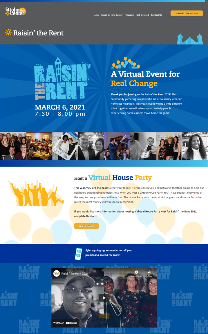 Here's an example of an event page for a house party that could inspire your Giving Tuesday campaign planning.