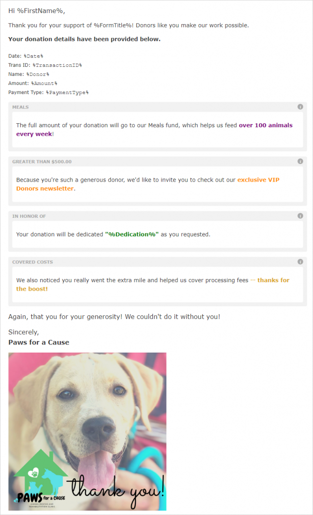 Receipt editor view with four conditional content blocks illustrating the options for restrictions, donation amounts, dedications, and GiftAssist.