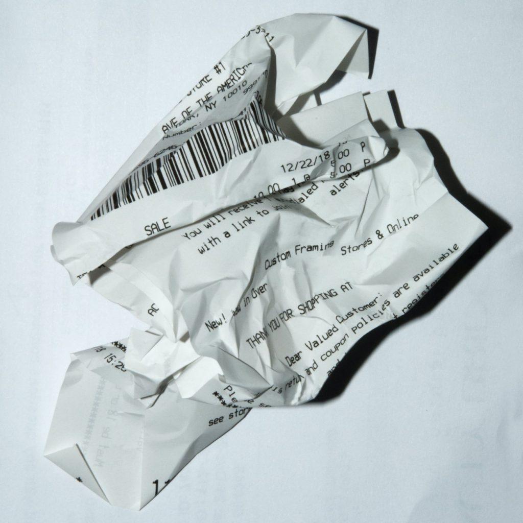 Crumpled up receipt