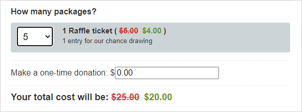 Charity raffle package selector showing a discount for 5 packages