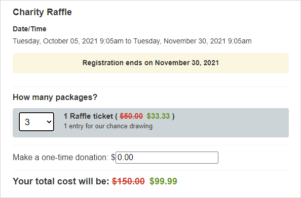Image of a charity raffle event form with three raffle ticket packages selected, showing a per ticket price of $33.33.