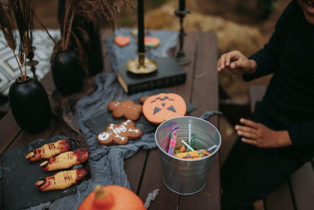 Halloween cookies and candy bucket